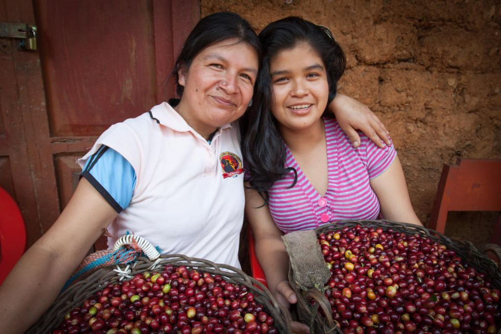 Smiling Women Coffee Farmers from Cafe Feminino in northern Peru holding coffee beans